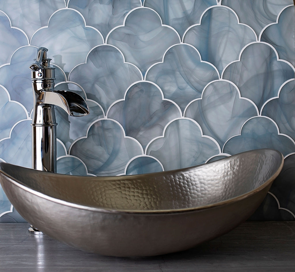 Ocean Glass Cloud Blue Mosaic Tile adds Swirling Sea Blues to a Stunning Bathroom Backsplash