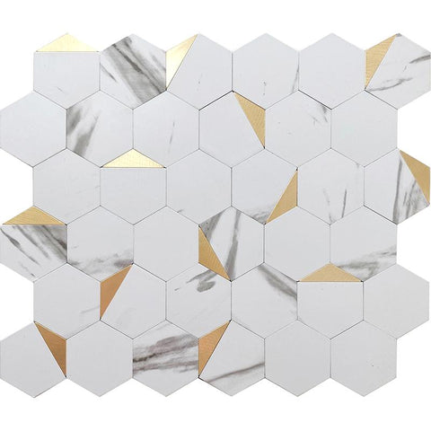 White Marble Look and Gold Hexagon Peel and Stick Tile