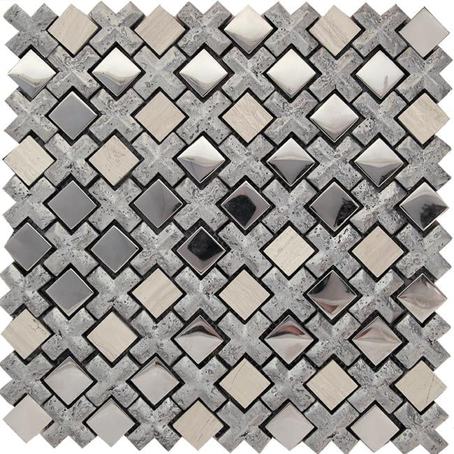 Silver Cross And Mirror Squares Mosaic Tile