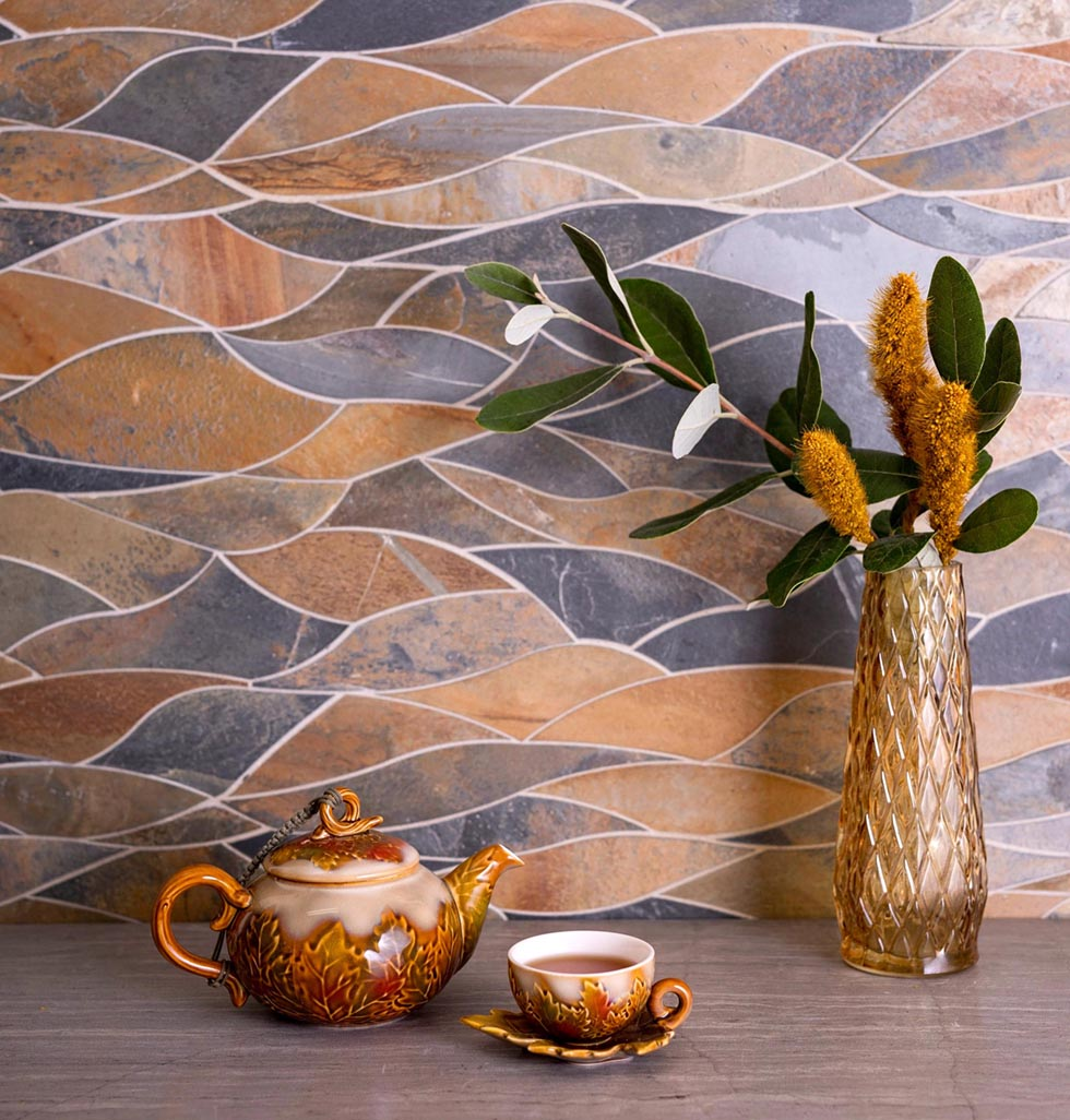 Sea Dream Slate Tile Combines Terra Cotta Orange and Deep Blue for a Southwestern Inspired Interior Accent