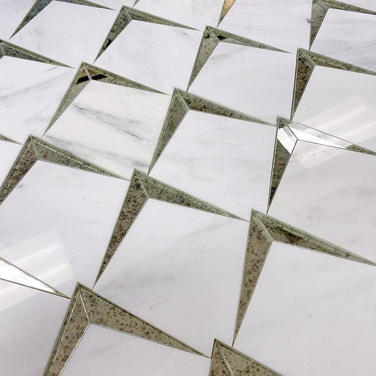Marble and antique mirror tile mosaic