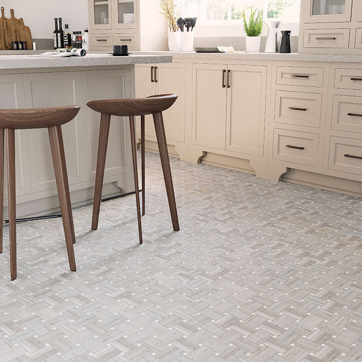 Traditional Basket Weave Kitchen Floor with Neutral Marble Tiles
