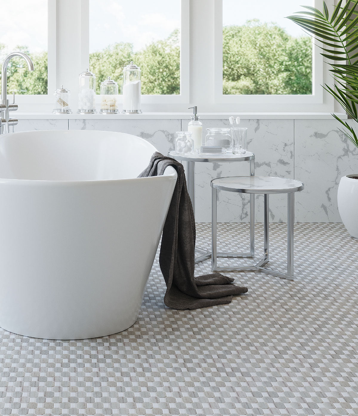 Step out of the tub and into comfort with heated marble bathroom floors!