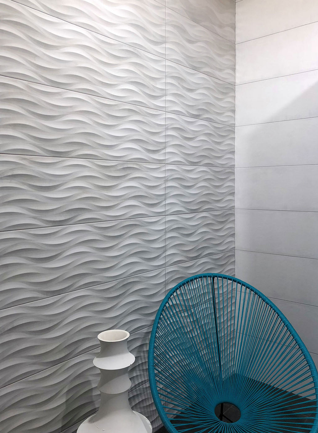 Tango Grey Wave Tile Adds a Modern Textural Detail to a Coastal Inspired Statement Wall