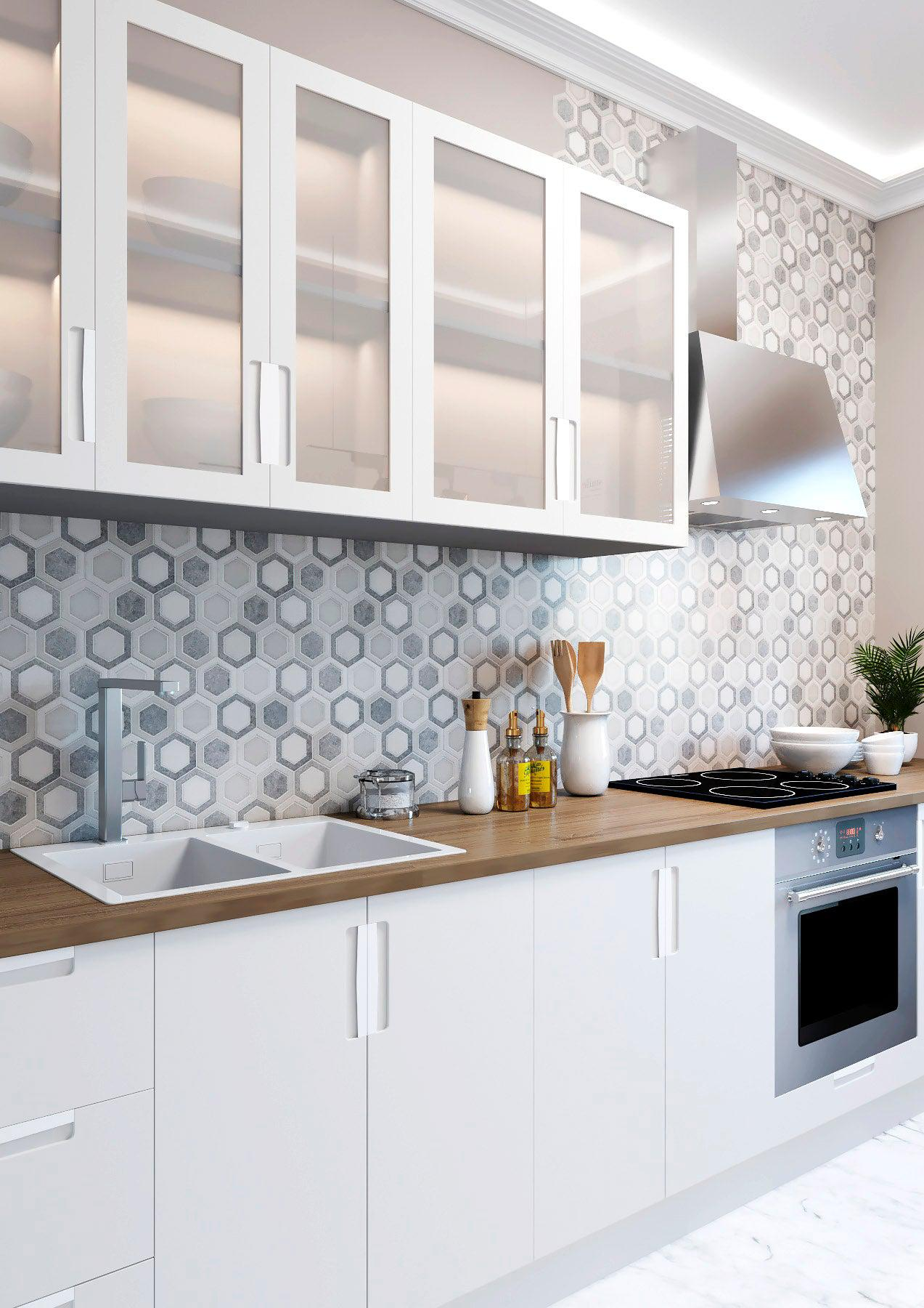 Thassos And Azul Cielo Double Hexagon Marble Mosaic Tile
