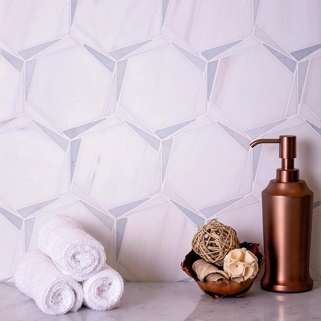 Triangular Hexagon in Bianco Dolomiti Leyte Blue and Thassos Marble Mosaic Tile with Bronze Decor for a Modern Coastal Farmhouse Bathroom