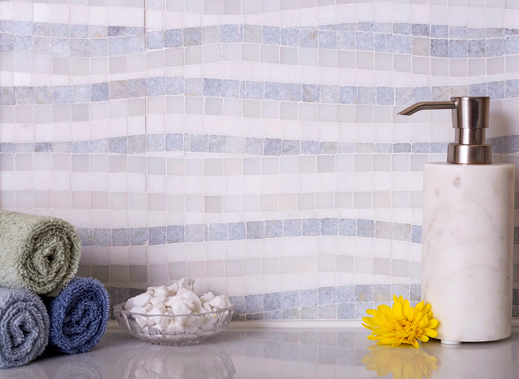 Waterfall Azul Cielo & Thassos Marble Mosaic Tile adds Coastal Charm to Bathroom Decor