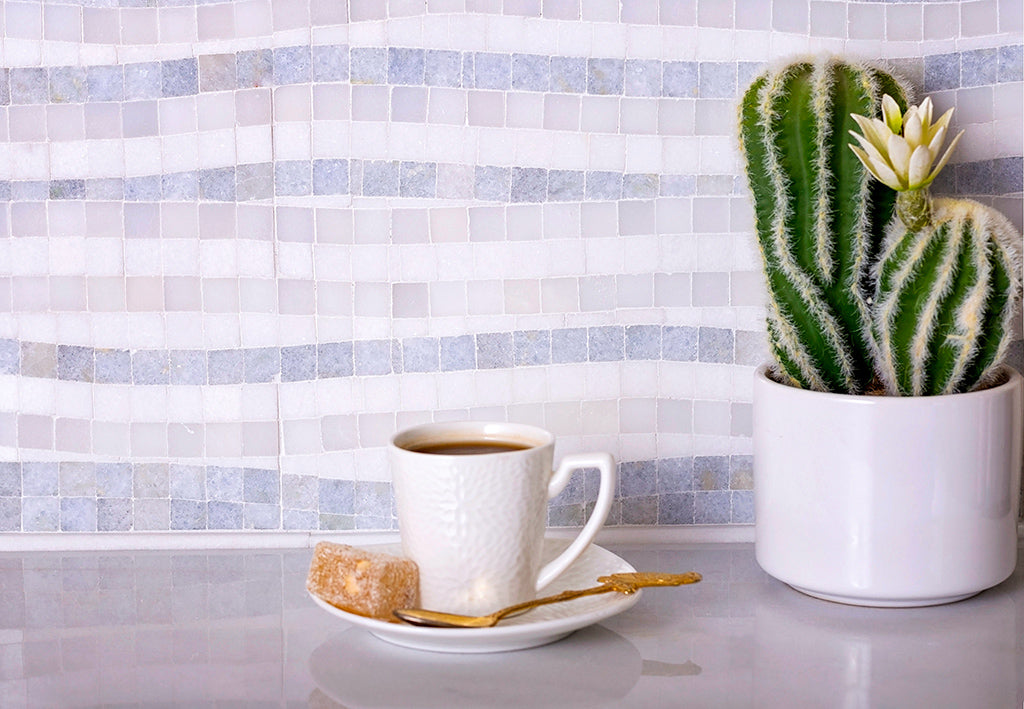 Waterfall Azul Cielo & Thassos Marble Mosaic Tile adds ocean waves to coastal kitchen or bathroom decor