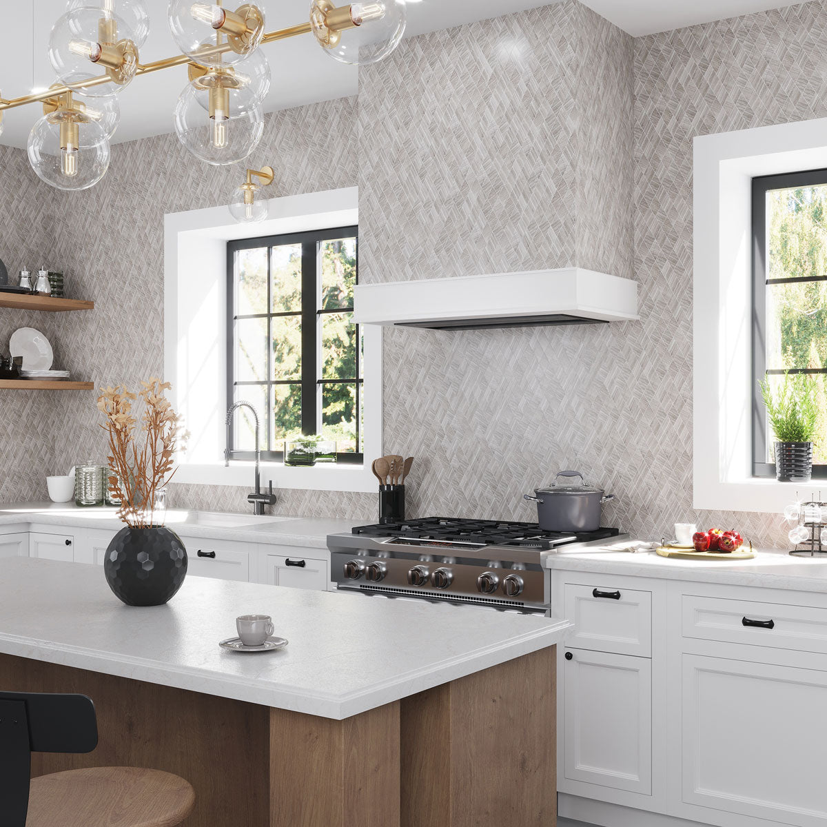 Neutral Kitchen Design Ideas with a Tiled Vent Hood over the Stove