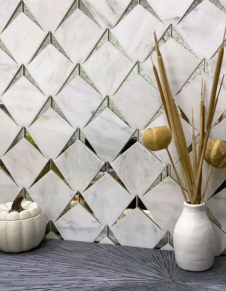 Arrowhead Antique Mirror Glass Marble Mosaic Tile  adds a vintage-inspired touch to a decorative accent wall