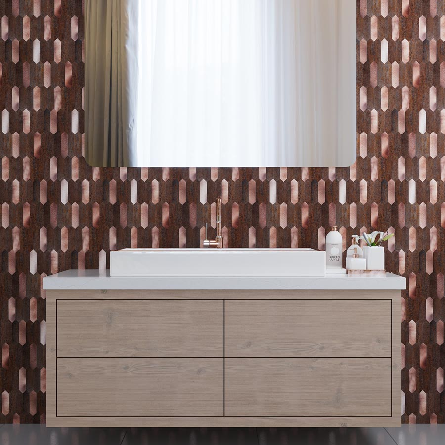 Modern Bathroom with Copper Picket Peel and Stick Tile Backsplash