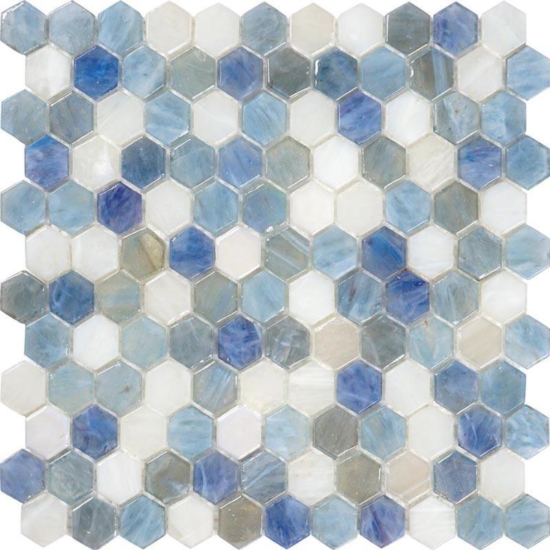 Blue And White Hexagon Glass Mosaic Tile Adds Coastal Style to any Room