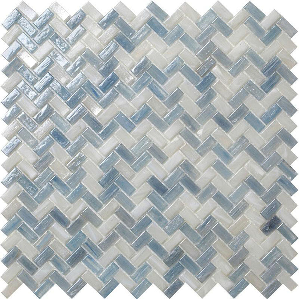 Blue Pearl Herringbone Mosaic Tile transform a bland bathroom into a beachy retreat