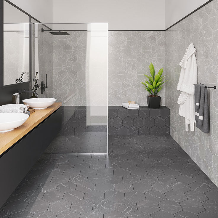 Gray and Black Open Plan Bathroom with Marbled Porcelain Hex Tiles