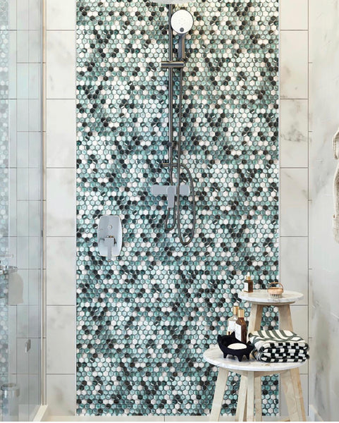 Emerald Hexagon Glass Mosaic for a Colorful Shower Tile Accent