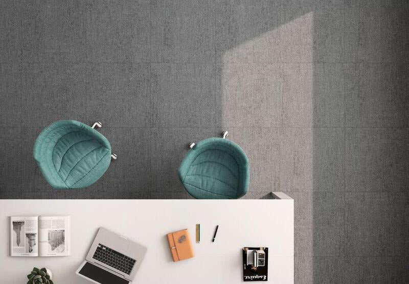 Fabric Grafito 12X24 Dark Floor Tile with a Carpet Look for a Home Office
