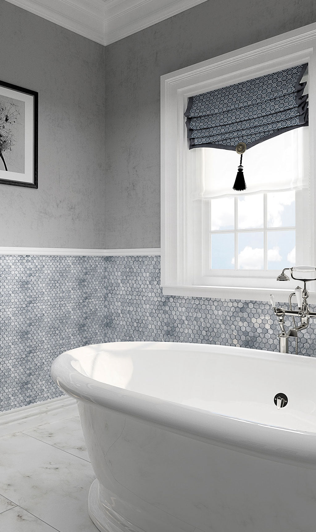Fabrique Blue Grey Hexagon Glass Mosaic Tile for a Geometric Bathroom with Coastal Tub Surround