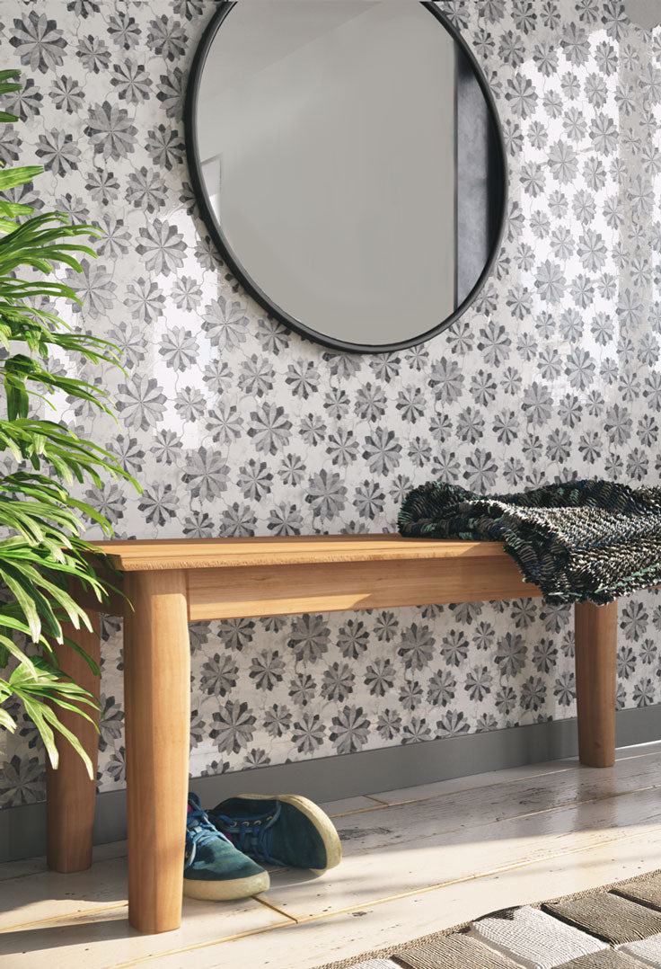 Marble Mosaic Tiled Wallpaper for a Gorgeous Entryway