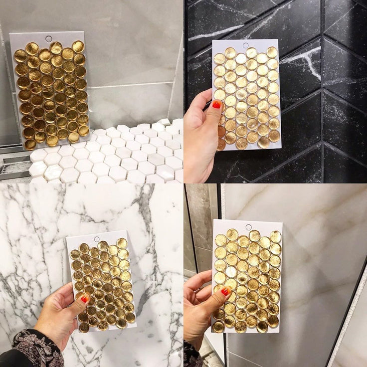 My Home Reno Deciding on Black or White Marble to go with our Gold Glass Penny Round Mosaic Tile