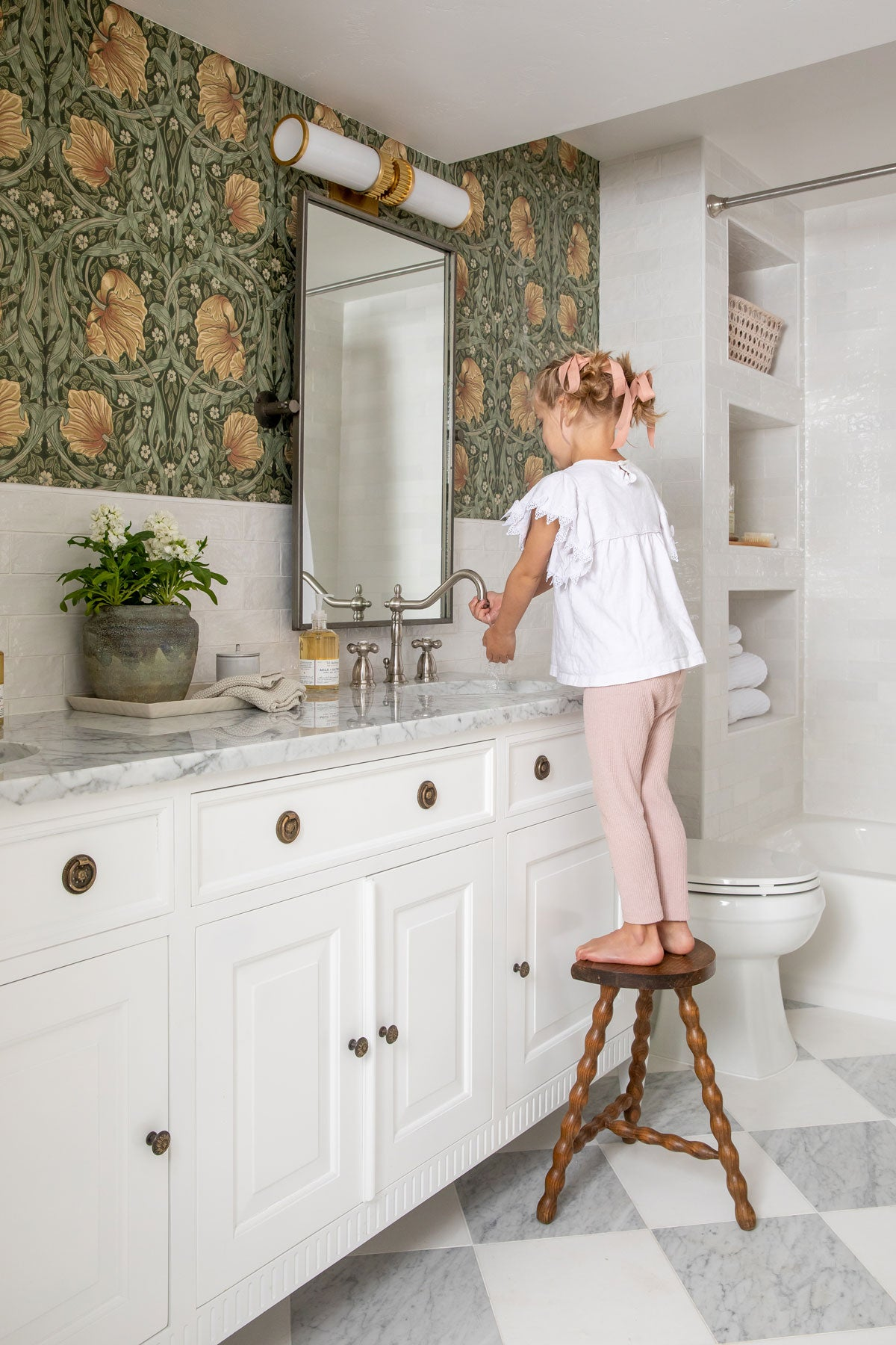 Basement Bathroom for Kids with White and Gray Farmhouse Decor