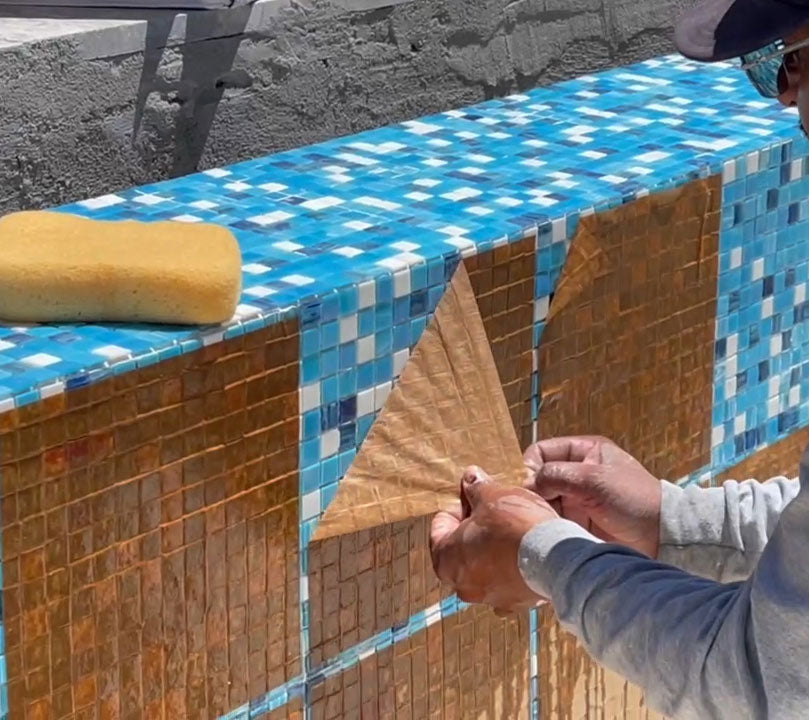Step Five - Removing Paper Adhesive from Glass Mosaic Pool Tiles