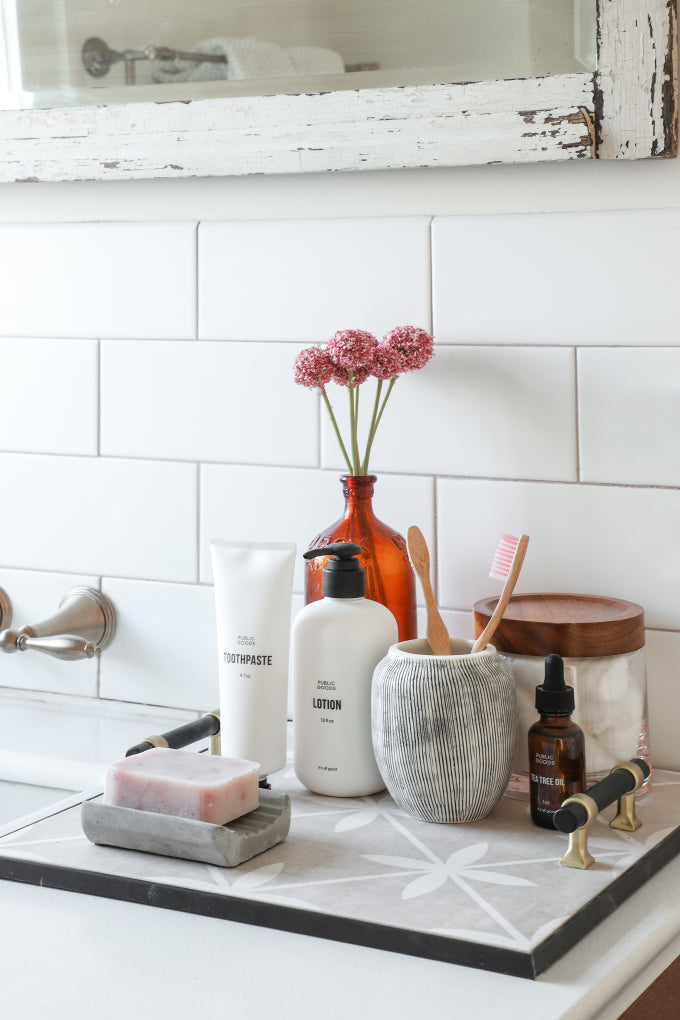 DIY this Crate and Barrel-worthy vanity tray out of your favorite tile as a handmade gift for mom!