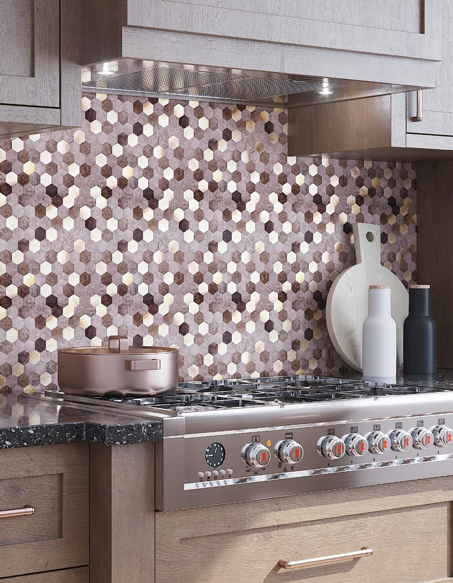 Modern Rustic Kitchen with Natural Wood details and Hexagon Peel and Stick Tile