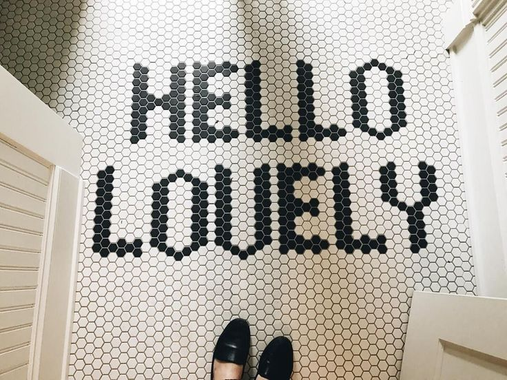 Tile Floor Mat with Hexagon Tile Saying Hello Lovely