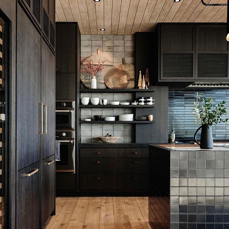 Combine Black wood Cabinets and Glazed Subway Tiles for this Masculine Chef's Kitchen