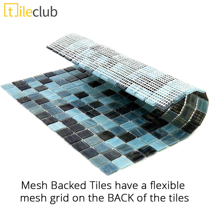 Mesh Backed Mosaic Tiles have a Flexible Mesh attached to the BACK of the Tiles and will be installed Mesh Side Down