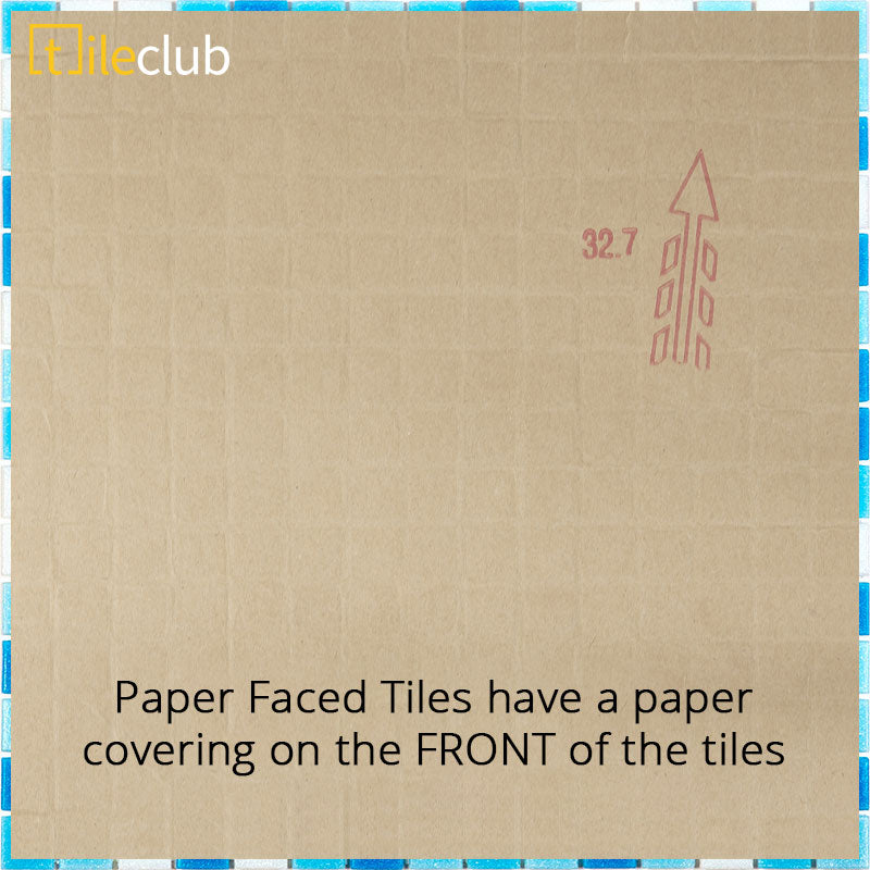 Paper Faced Tiles have a paper covering on the FRONT of the tiles that can be peeled away after the tiles are installed