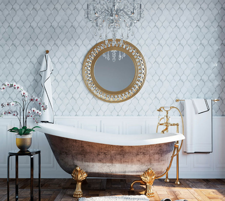 Shabby Chic Glamorous Bathroom with Pearl Chic White Marble & Mother Of Pearl Waterjet Mosaic Tile