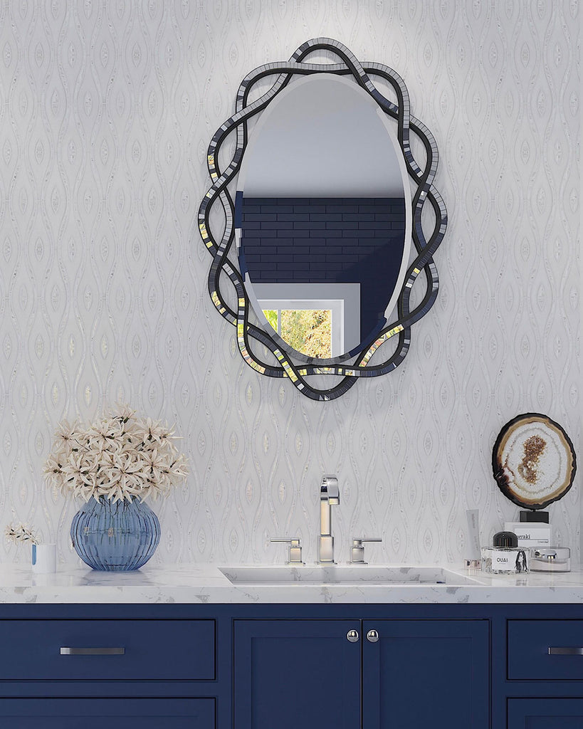 Glamorous Bathroom Vanity in Blue with Mosaic Mirrors and our Pearl Wave White Marble & Mother of Pearl Waterjet Tile