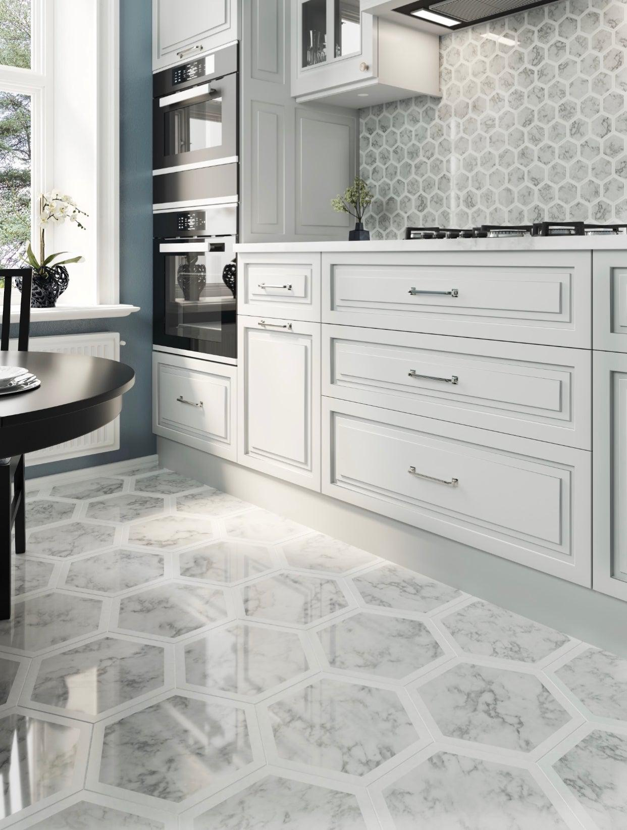 Selo Grand Hexagon Carrara And Thassos Marble Mosaic Geometric Flooring