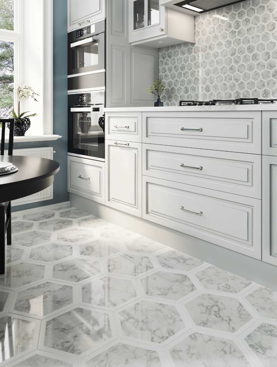 Mixing Large and Small Hexagon Marble Tiles