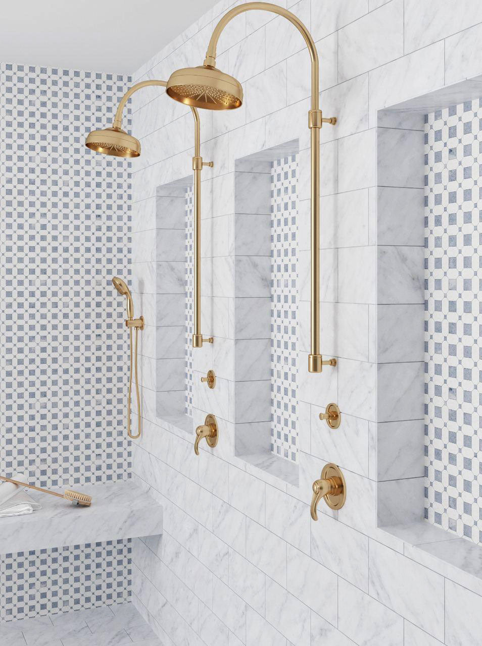 Gold and Marble Subway Tile and Mosaic Shower