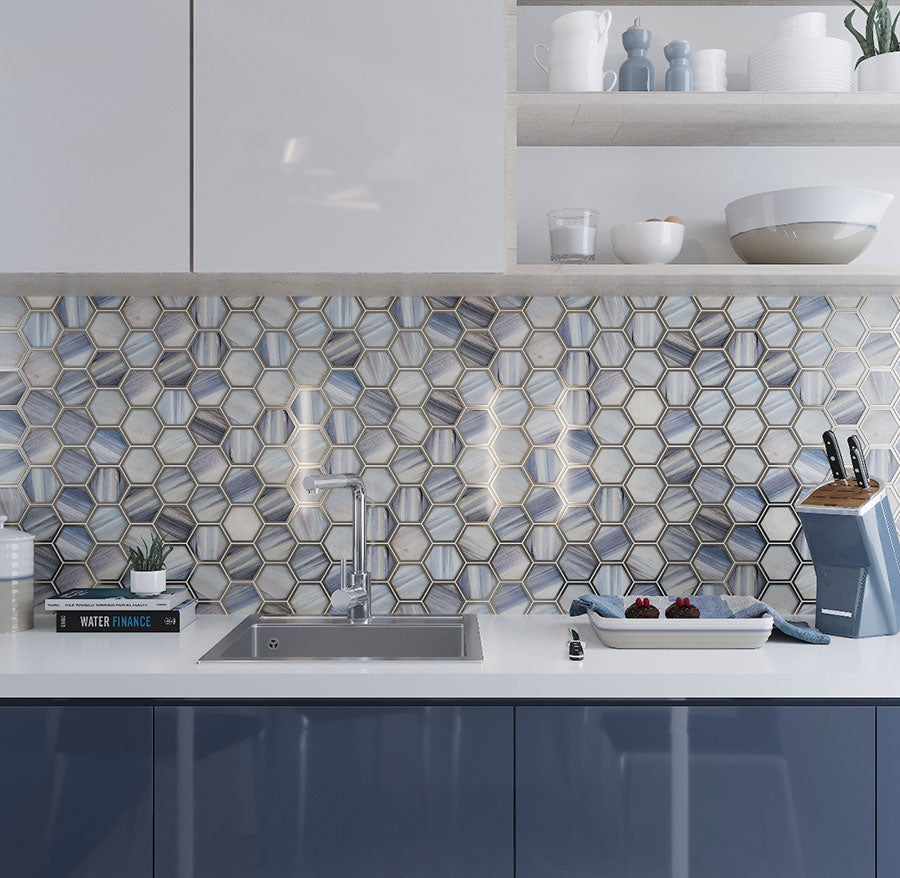 Add a glamorous kitchen touch with Topaz Marbled Glass Hexagon Mosaic Tile
