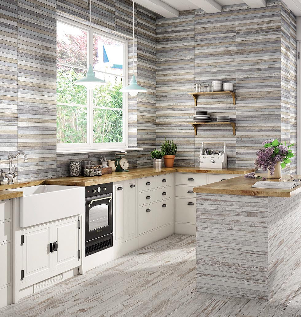 Light and Bright Farmhouse Kitchen with Faux Shiplap Walls from Wood Look Porcelain Tiles