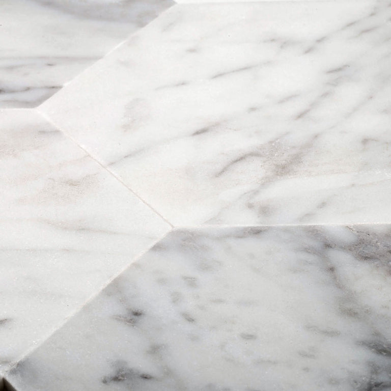 Real Marble Hexagon Tiles on Peel and Stick Adhesive