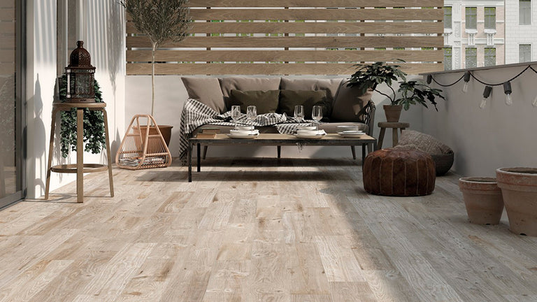 Vancouver Miel Wood Look Tile Plank Decking for an Outdoor Patio
