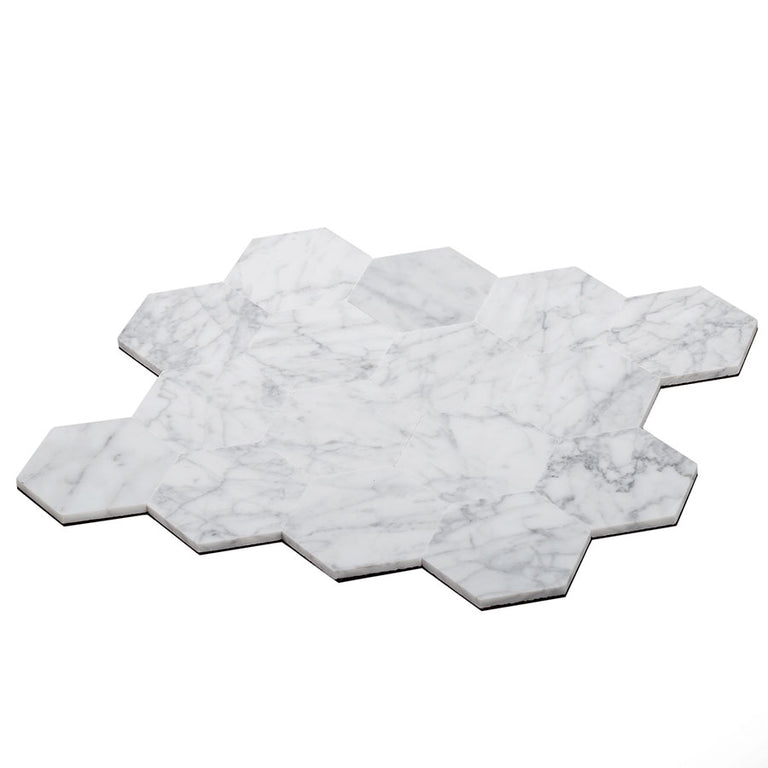 "2.5"" Carrara Hexagon peel and stick tile"