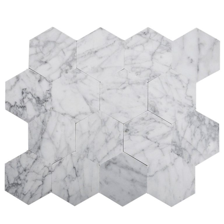 "2.5"" Carrara Hexagon Marble peel and stick tile"