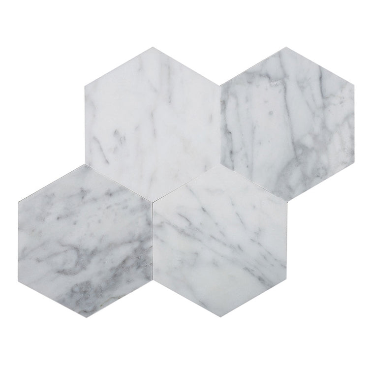 "5"" Carrara Hexagon Peel and Stick Tile"