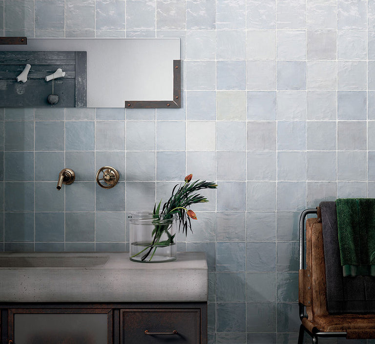 La Riviera Lavanda Blue Ceramic Tiles have a Zellige Look to their Finish