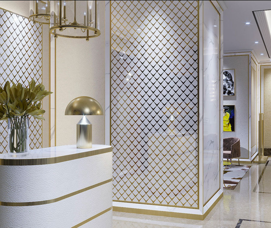 Arrowhead Brass Marble Mosaic Tile for a Glamorous Hotel Lobby Wall