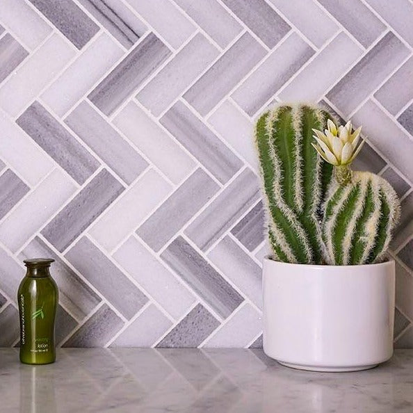 "1x3"" Equator Herringbone polished mosaic tile"