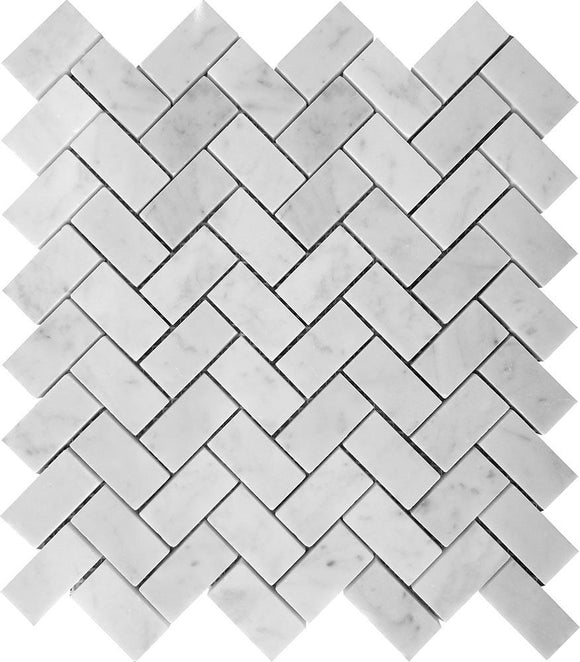 white marble herringbone tile