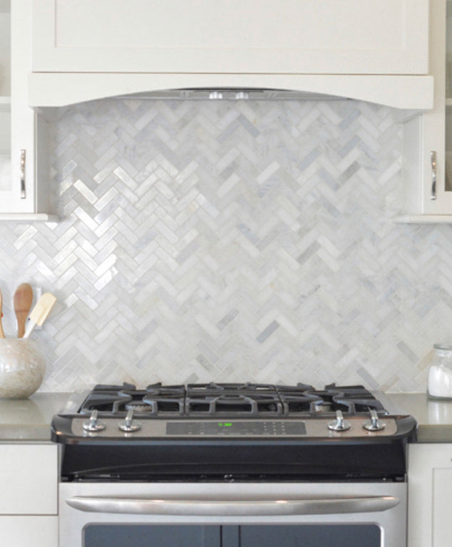 1X3 White Carrara Herringbone Polished Marble Mosaic Tile Kitchen Backsplash