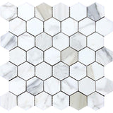 "calacatta gold 2"" hexagon mosaic tile polished"