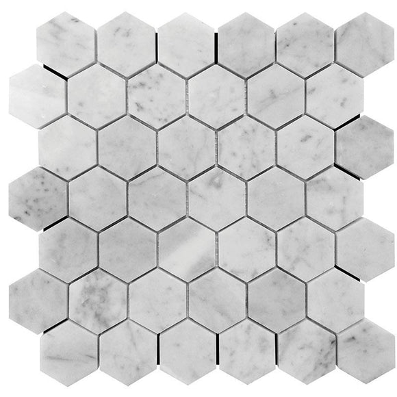 2 Inch White Carrara Hexagon Honed Marble Mosaic Tile position: 1
